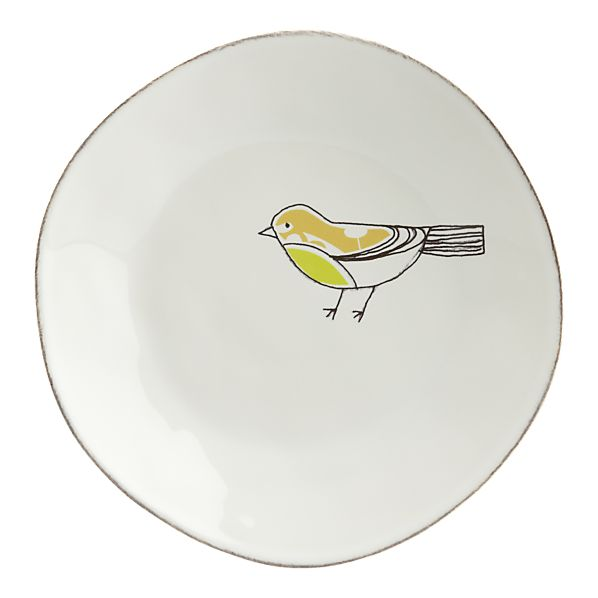 Chickadee Green Plate in Mother's Day | Crate and Barrel