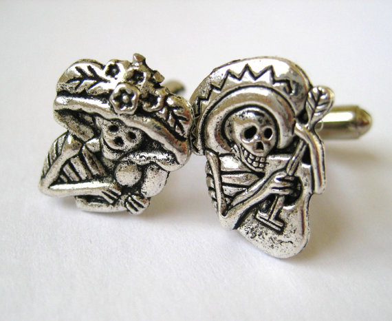 Silver Sugar Skull Cufflinks Mens Accessory Unique Mismatch Cuff Links Dia De Los Muertos ($19.95)
