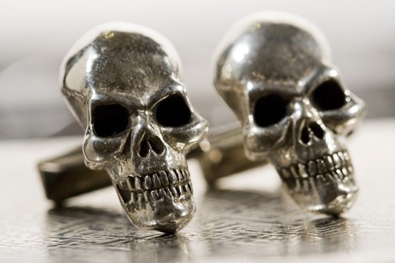 Sterling Silver Skull Cuff Links Original Carving  made in NYC ($100.00)