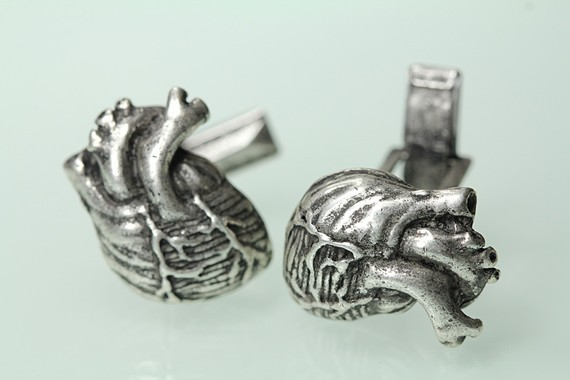 Anatomical Heart  Cuff Links Cast Metal in Antiqued Silver ($40.00)