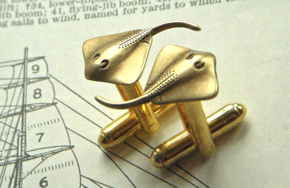 Men's Cufflinks Nautical Bat Ray Fish Ocean Sealife Stingray Vintage Style Brass Victorian Steampunk Cuff Links & Accessories ($25.00)