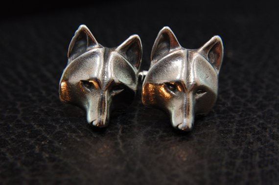 Wolf Mask Cuff Links - White Bronze ($78.00)