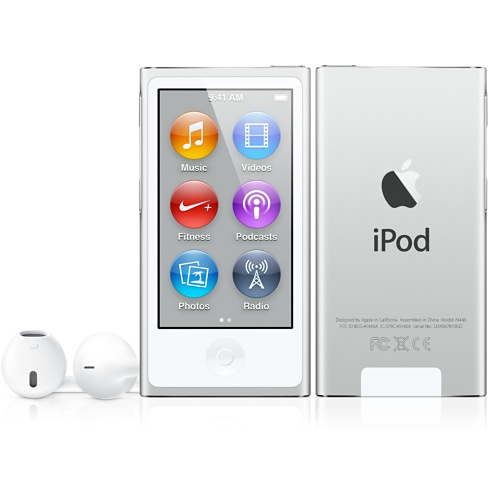 Silver iPod nano with Multi-Touch