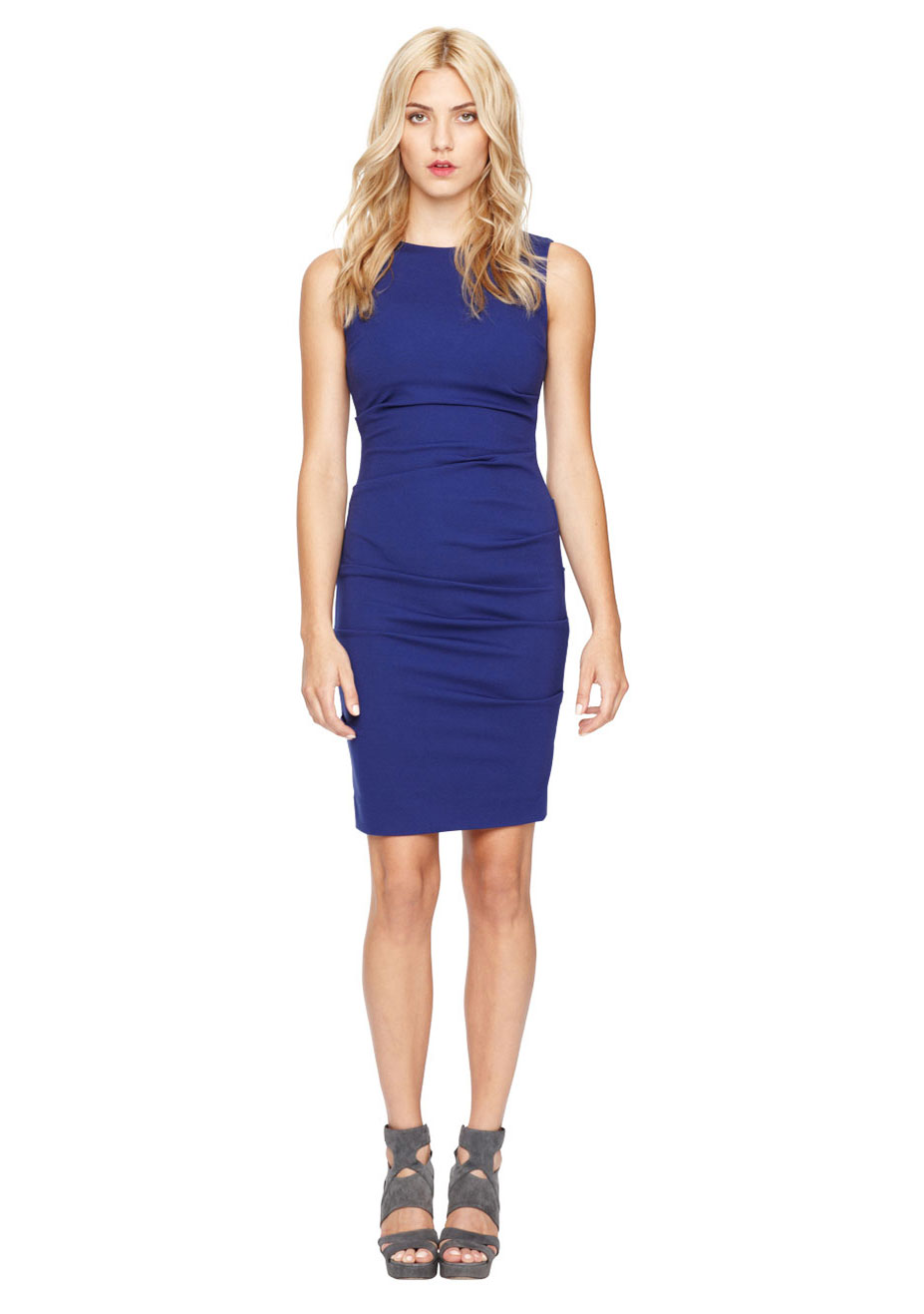 Nicole Miller Sleeveless Tucked Dress