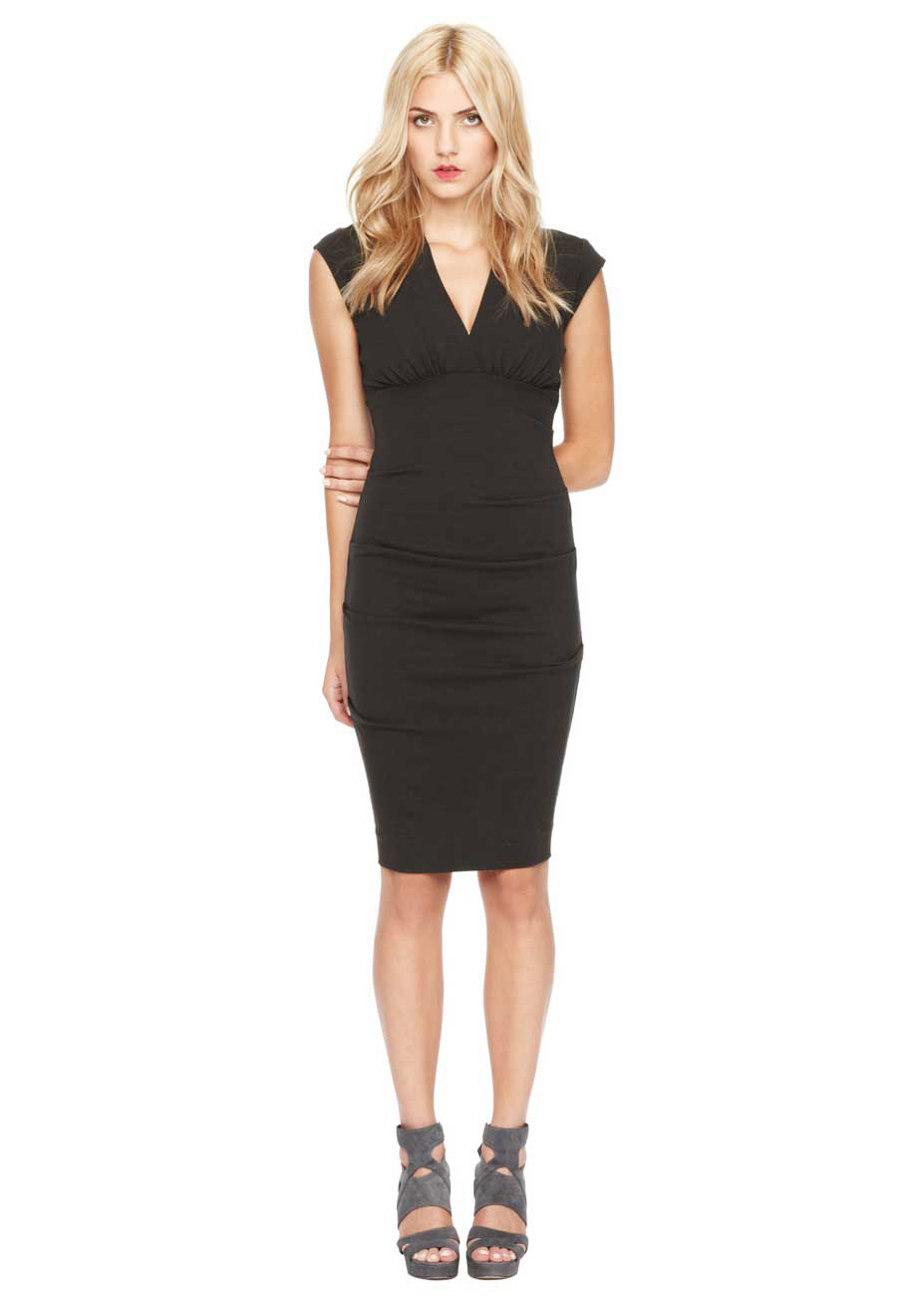 Nicole Miller Ponte V-Neck Tucked Dress