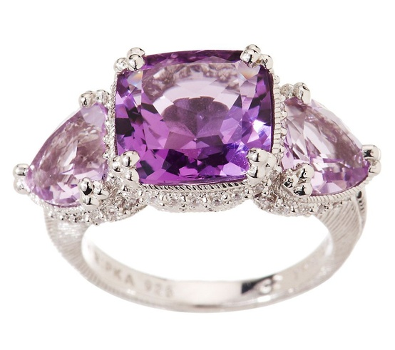 Judith Ripka Sterling 7.00ct 3 Stone Amethyst & Diamonique Ring
