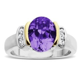 Sterling Silver and 14k Yellow Gold, White Topaz and Oval Amethyst Ring
